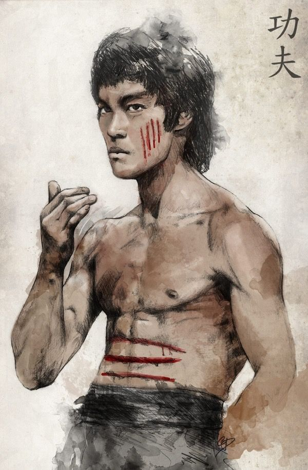 Bruce Lee art. I have this tattooed on my right leg
