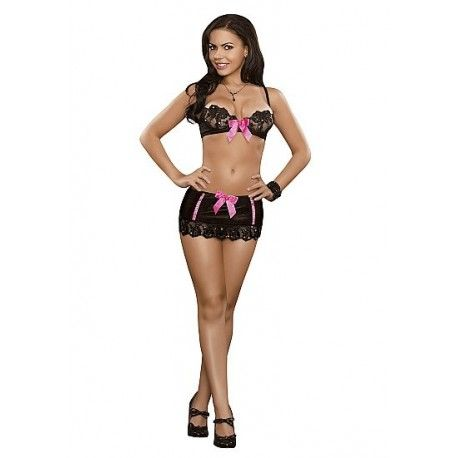 From the Exposed Sequin Lace collection, this style includes: Stretch satin bra with embroidered sequin lace cups, underwire, back hook & eye closure, adjustable shoulder straps & a large satin bow.  Matching mini skirt features stretch satin, sequin lace, criss-cross ribbon trim, & a large satin bow. Set also includes matching G-String.