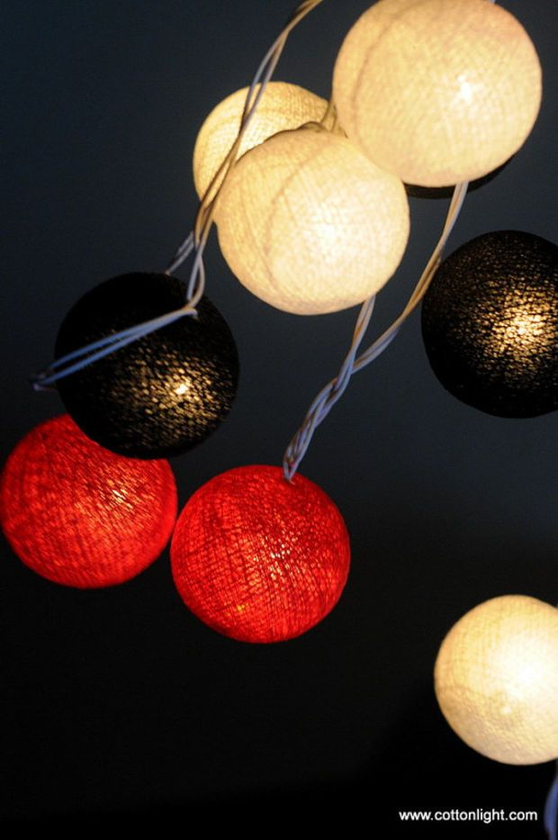 Black white red chili beauty summer mix cotton ball string light patio bedroom decor party ...