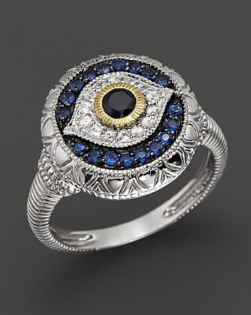 Judith Ripka Sterling Silver Evil Eye Ring. I need this. Now.