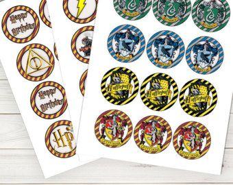 Harry Potter Cupcake Toppers Birthday House Crest Invitation Party Instant Download
