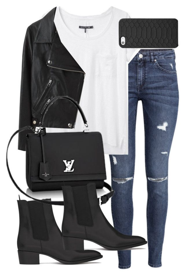 """Untitled #5087"" by natalie-123s ❤ liked on Polyvore featuring H&M, rag & bone, Acne Studios, GiGi New York and Yves Saint Laurent"