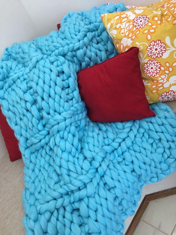 Beautiful in blue & 100% Australian Merino Wool. Gorgeous chunky knit to make any corner cozy...