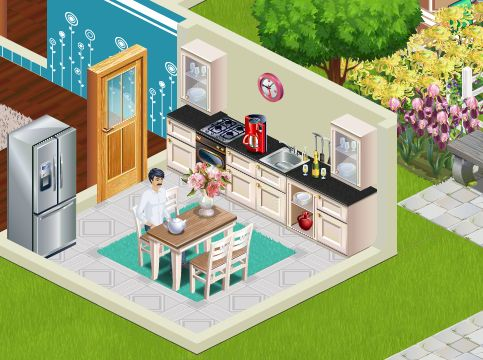 Small kitchens have their charm. Pay attention to the details- as having a nice watch on the wall or fresh flowers. Play Suburbia!