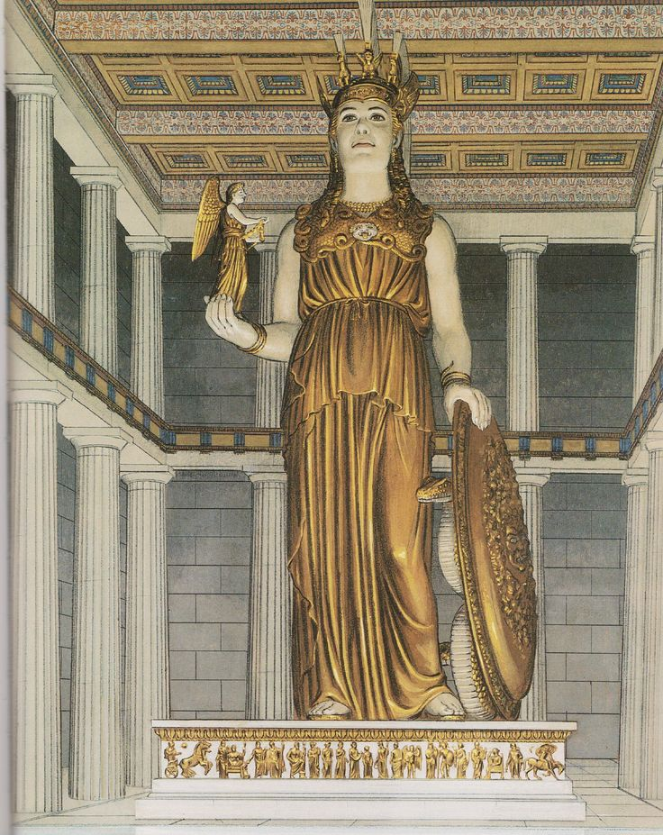 Rendition by Peter Connolly of The Athena Parthenos Statue, made by Phidias of wood, plated with ivory and gold. (Athens/Pausanius/ Thucydides/user: Aethon)