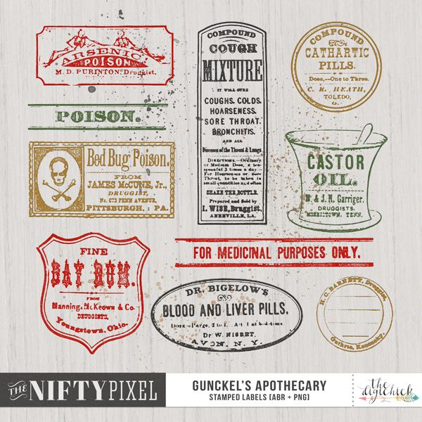 GUNCKEL'S APOTHECARY | Brush & Stamp Set This is a pack of vintage apothecary label stamps. Use them to stamp some fun elements in your backgrounds or clip to other elements located in the elements pack to customise your pages.   DOWNLOAD INCLUDES:  13X Brush Tips (.abr file) 13X Labels Digital Stamps/Textures (.png) [3 Splatters + 10 Labels]