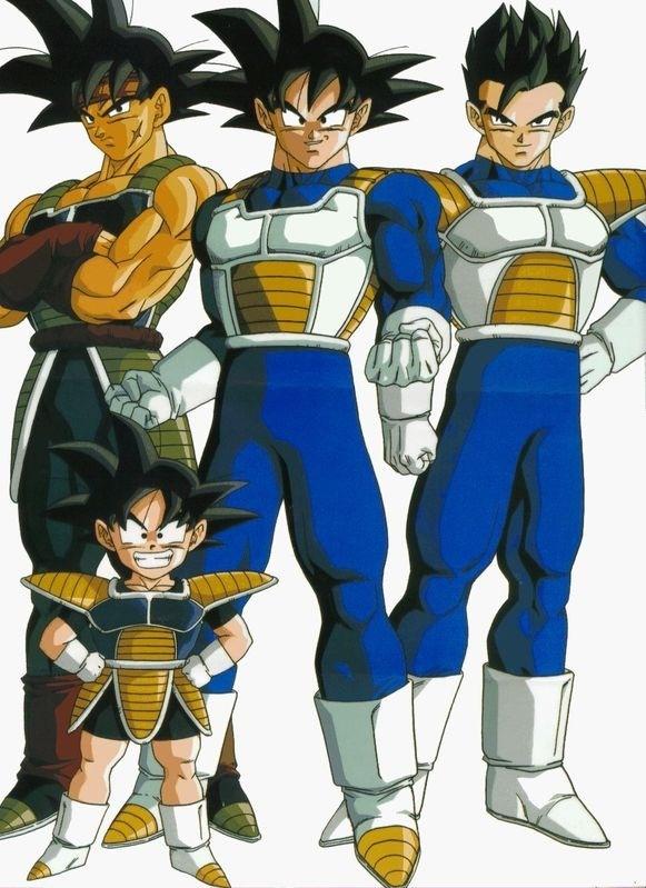 Bardock, Goku, Gohan, and Goten.