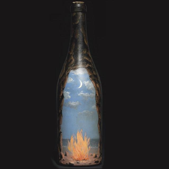 Feu Bouteille Fire Bottle Oil Painted Glass Bottle By