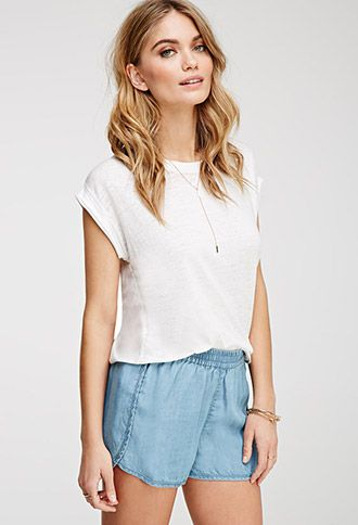 Life in Progress Chambray Dolphin Shorts | FOREVER21 - 2049258146