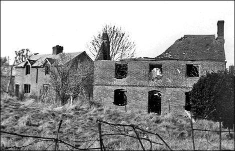 Destruction north of church 1957