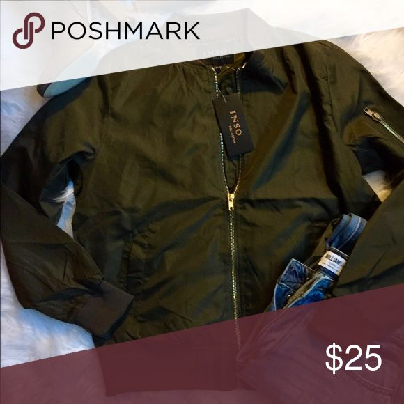 Green bomber jacket, size medium, NWT! This super cute lightweight bomber jacket is perfect for the spring! NWT, medium Jackets & Coats