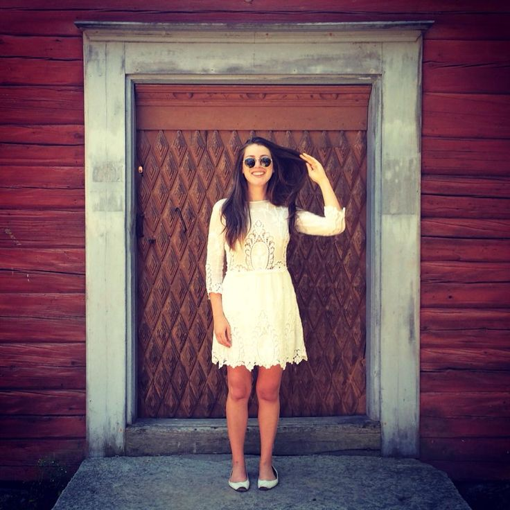 """""""Another postcard from my day trip with Oscar! This is me, standing in front of a Swedish smithy, flipping my hair, and also maybe doing a queen-wave. Because I'm a blogger and I can multi-task like that, you know?"""" - https://www.facebook.com/carolinecallowaydotcom/photos/pb.176569062526763.-2207520000.1460745928./276485105868491/?type=3&theater"""