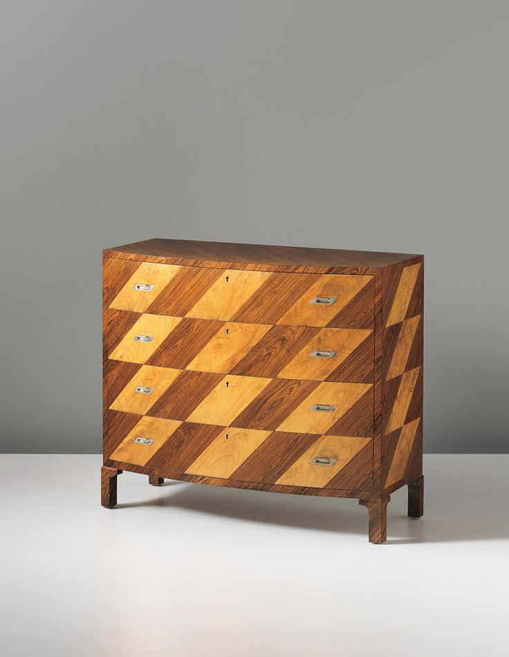 Carl Bergsten; Unique Rosewood, Maple and Nickel-Plated Bronze Chest of Drawers, from The Stockholm Exhibition: Swedish Arts & Crafts and Home Industries by Nordiska Kompaniet, 1930.