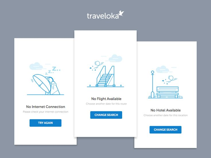Empty state illustration - mobile web by Steve Lianardo for Traveloka