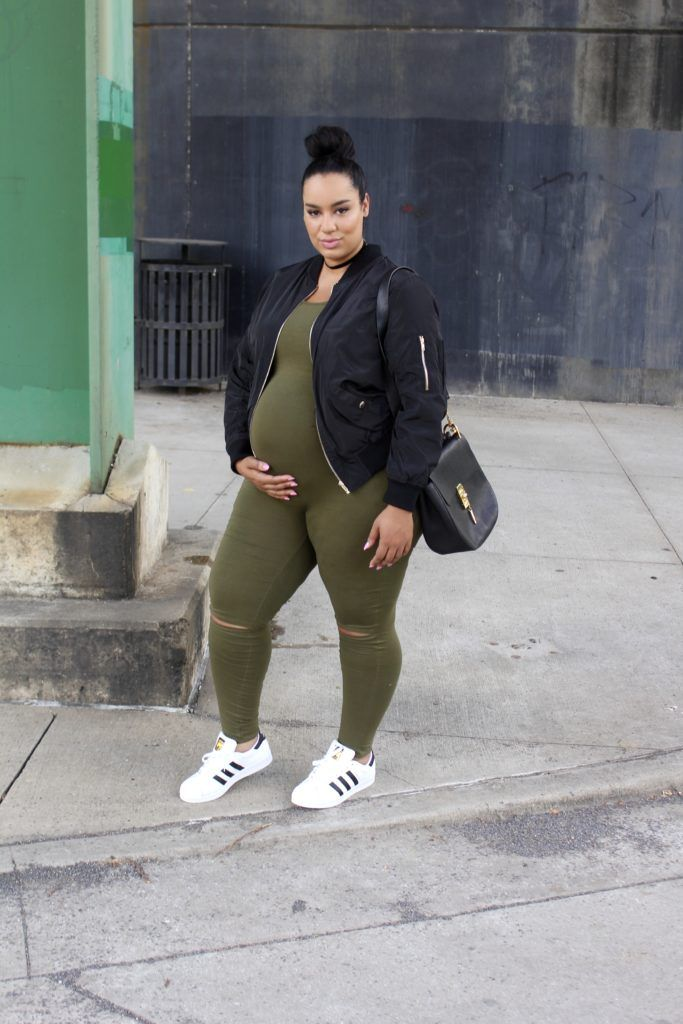 Plus Size Maternity - Casual Outfit | Maternity Jumpsuit | Olive and Black Maternity Look