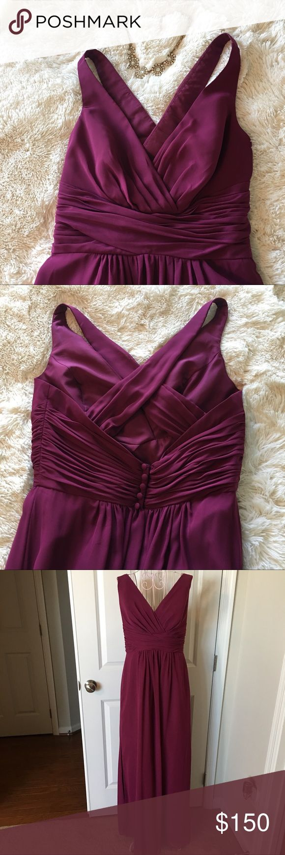 NWT Alfred Angelo V-Neck Bridesmaids Gown #7355L Berry Color! NEW and in protective bag. Chiffon, v neck with cross over back straps, draped bodice, natural waist, floor length, a-line silhouette. Beautiful Gown!! Alfred Angelo Dresses Prom