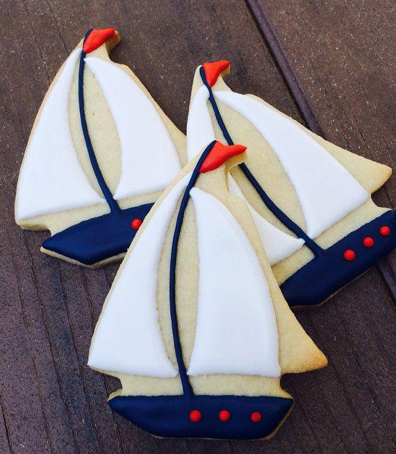 Nautical Sailboat Sugar Cookies 1 dozen by LaPetiteCookie on Etsy
