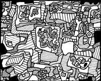 Coloriage adulte Jean Dubuffet : Site habité d'objets