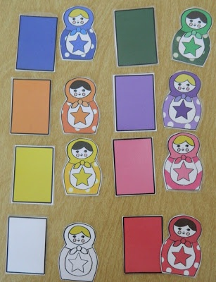 the vintage umbrella: Nesting dolls matching game and cards