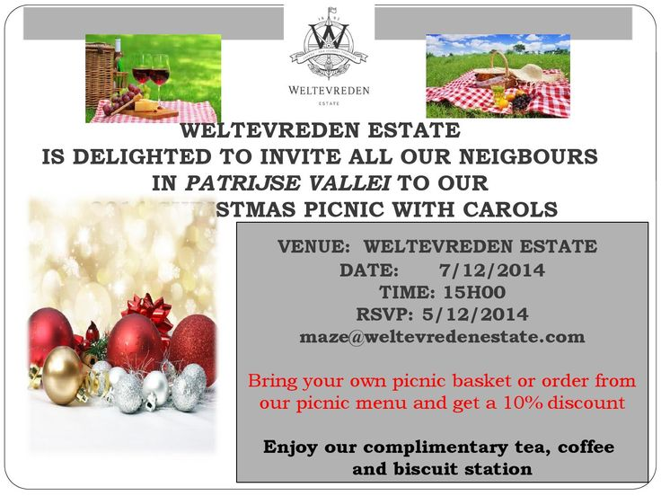 Weltevreden Estate Christmas Carol picnic 15h00 on 07 December in #stellenbosch  Bring your family; Invite your neighbours; Join us 15h00 on 07 December for a Christmas Carol Picnic