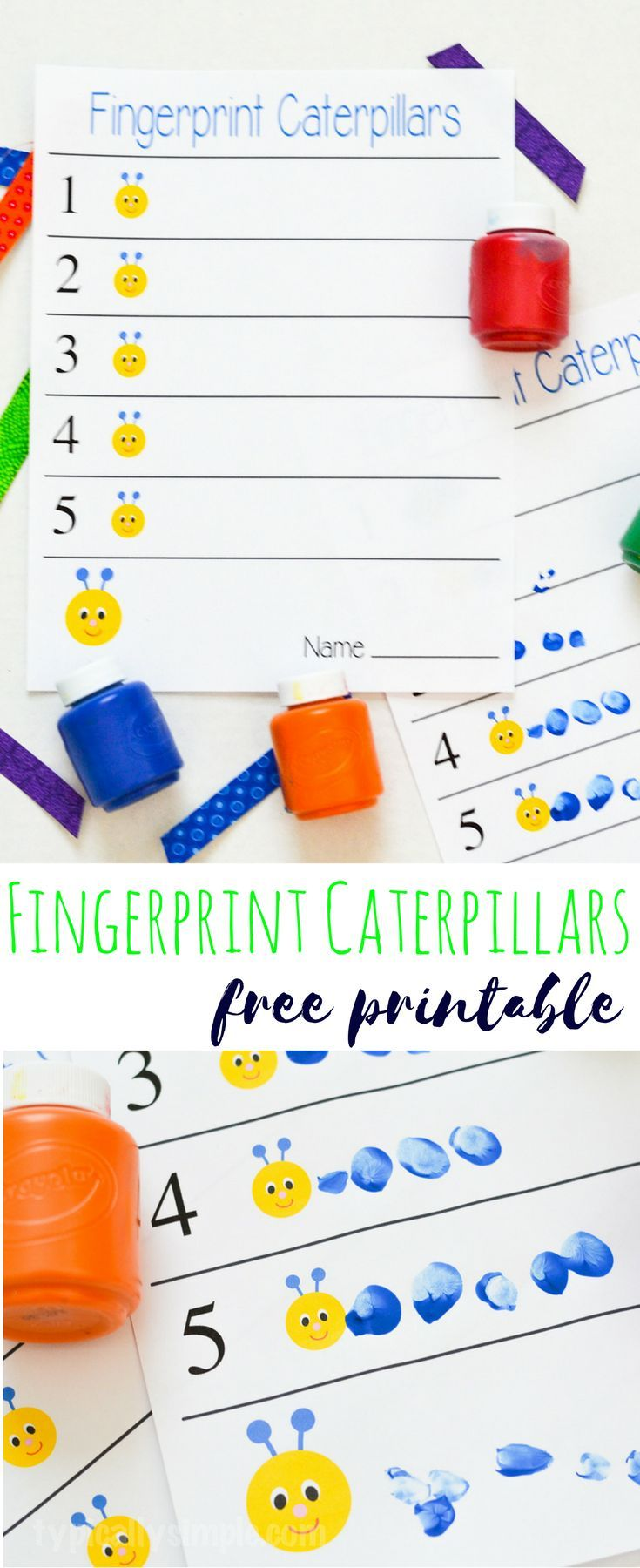 These fingerprint caterpillars are a fun way to work on number awareness! A simple craft project that is perfect for preschool aged kids. Plus you only need the free printable and some paint.