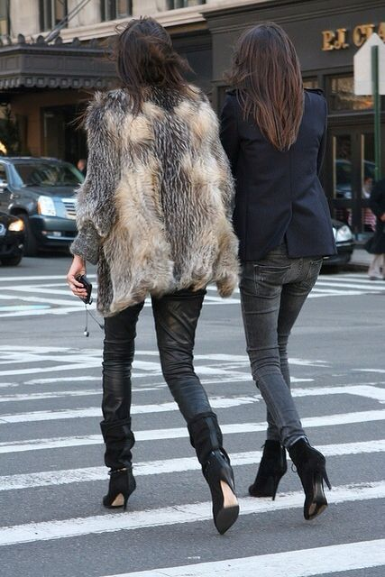 French fashion editors in fur + blazers + black ankle boots