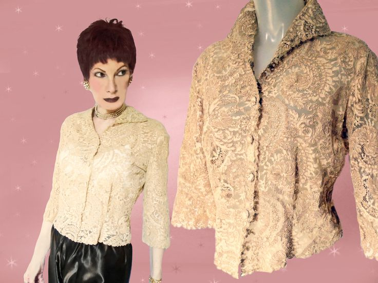 50s Lace Blouse Womens, Vintage Corded Lace Blouse, 1950s New Look, High Fashion Wing Collar, Alencon Lace, Re Embroidered Lace Beige Blouse by LunaJunctionVintage on Etsy