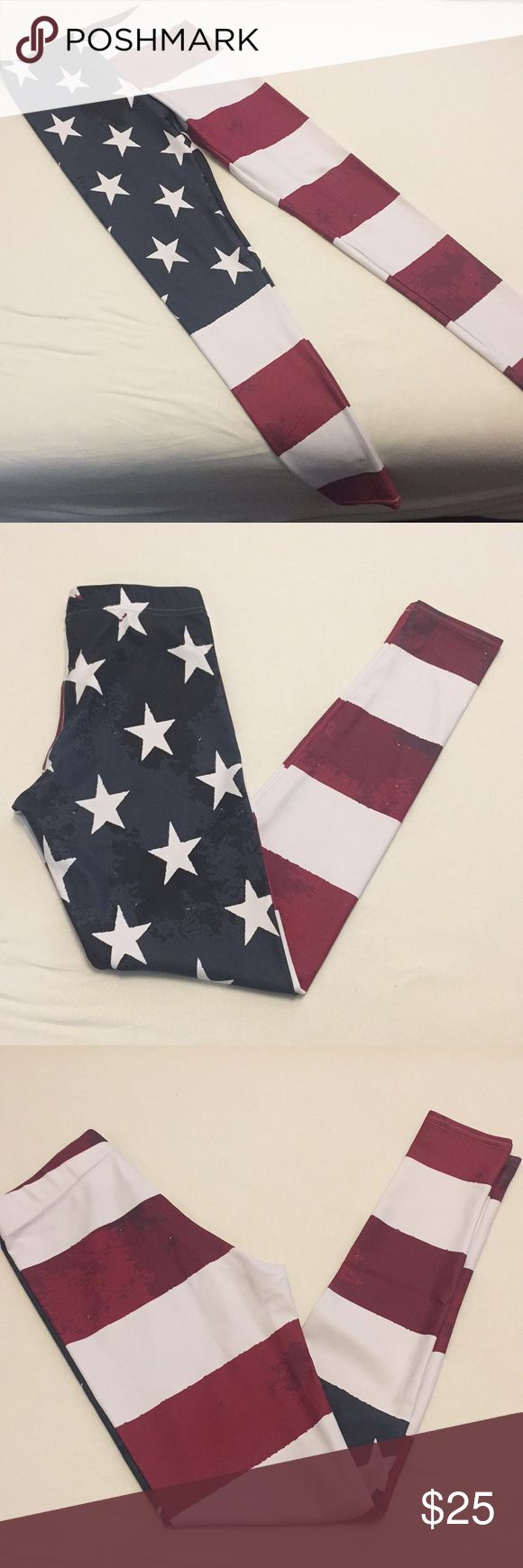 American Flag Leggings American Flag leggings, these are in good used condition, there is a tiny seam that looks like it may be coming undone. But there is no hole. I am not a seamstress... so I would never attempt to fix it. These still have tons of wear left in them! There is no tag for brand, but I believe these are GearBunch also. Priced to reflect the seam. All reasonable offers accepted, bundle to save and all orders come from smoke free home. Pants Leggings