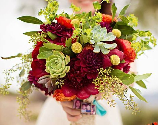 Enchanted Florist Las Vegas- bright and funky bouquet with succulents as accent.