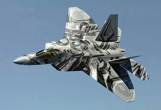 F-22 Raptor looking like the new look of the Decepticon Starscream.