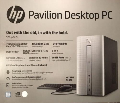 HP Pavilion Desktop PC 570-p047c,intel Core i7-7700,2TB Hard Drive, 16gb Memory: $699.00 End Date: Friday Apr-6-2018 4:38:43 PDT Buy It Now…