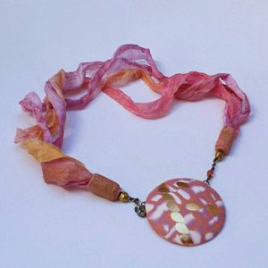 Beautiful necklace made by Valerie using Perran Yarn handdyed recycled chiffon silk ribbon in shade Sunset Party