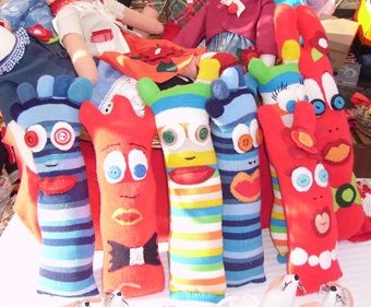 Silvia's dolls, recycled wool socks/calze di lana riciclate.