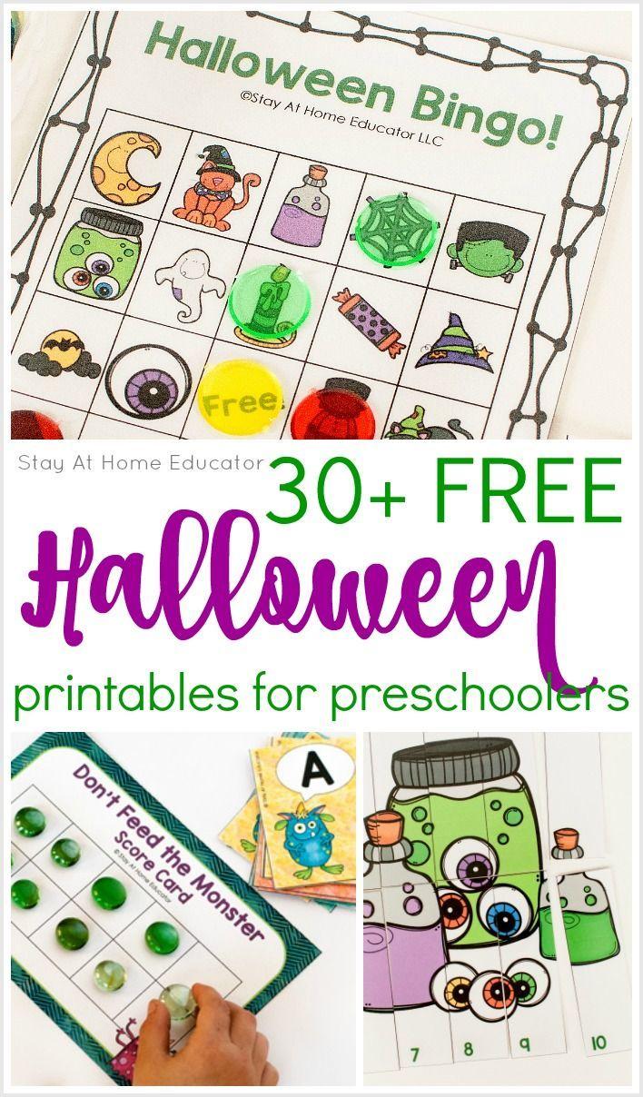 30 Free Halloween Printables For Preschool Stay At Home Educator Halloween Worksheets Preschool Halloween Preschool Halloween Theme Preschool [ 1208 x 708 Pixel ]
