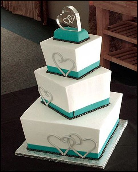 Teal Blocked Wedding Cake Design