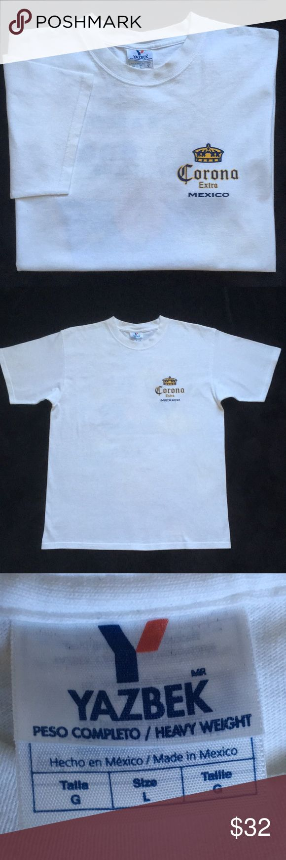 "🍻NEW🍻Corona Extra Mexico Beach Club T-Shirt Sz L 🍻NEW🍻Corona Extra Mexico Life's A Beer Corona Beach Club Heavy Weight T-Shirt Size Large. Tee Shirt Manufactured by Yazbek. Measures: 1.  Armpit-Armpit 22 1/2"" 2. Shoulder-Cuff 9"" 3. Collar-Hem 29""  🚫Trades🚫Price Firm Corona Shirts Tees - Short Sleeve"