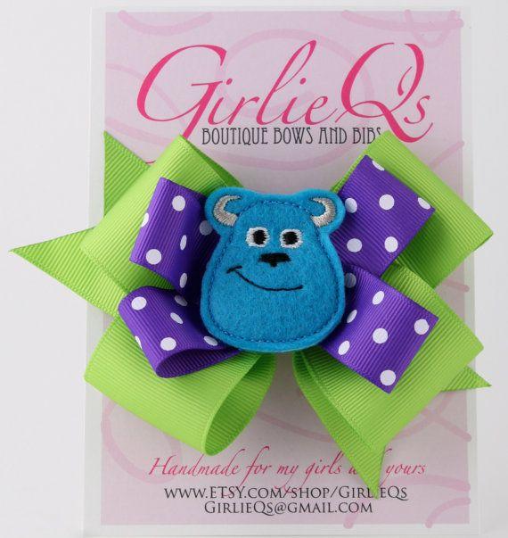 "Sulley Hair Bow Hair Clip 5"" x 4"" Monsters Inc Monsters University Mike Wazowski Disney Pixar James P Sullivan"