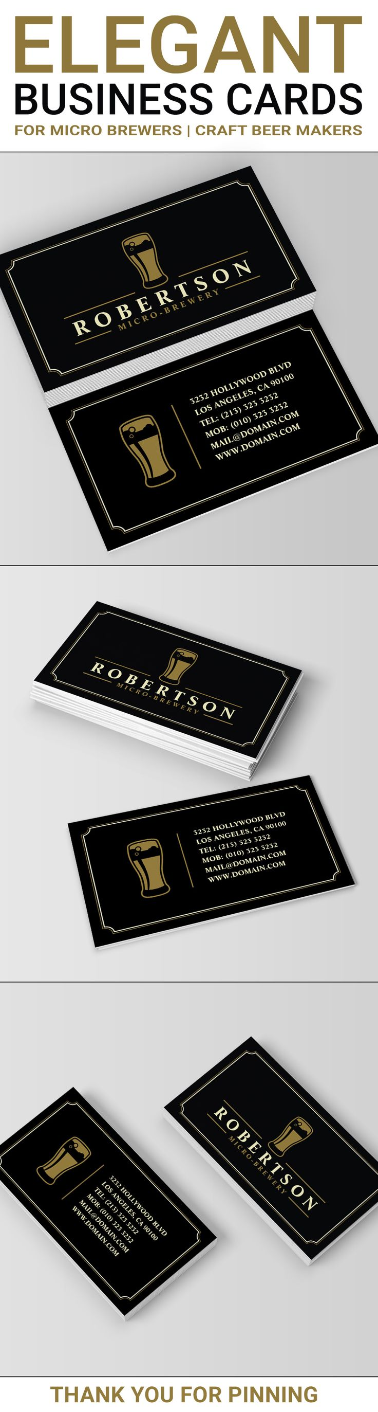 Elegant two sided business cards design ideal for micro breweries and craft beer makers. The design features a beer glass logo which can be replaced (optional) with your own. This micro brewery business card template is using the front of the design for your business name and the back for your contact information. The beer glass logo is shown on both sides of the micro brewery business card. Created by J32 Design at j32design.com