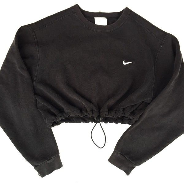 Reworked Nike Crop Sweatshirt Black ($40) ❤ liked on Polyvore featuring tops, hoodies, sweatshirts, sweaters, jackets, shirts, sweatshirt crop top, sweat tops, nike and nike sweatshirt