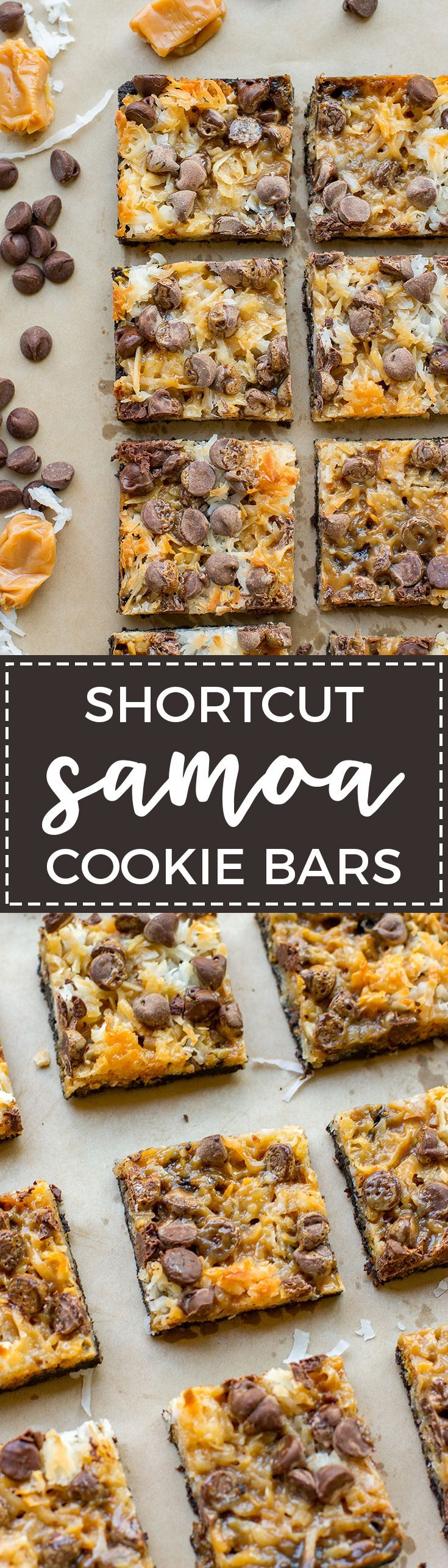 Shortcut Samoa cookie bars | Chocolate chips, salted caramel, sweetened coconut, and an Oreo crust make an easy at-home version of the classic Girl Scout cookie. via @nourishandfete