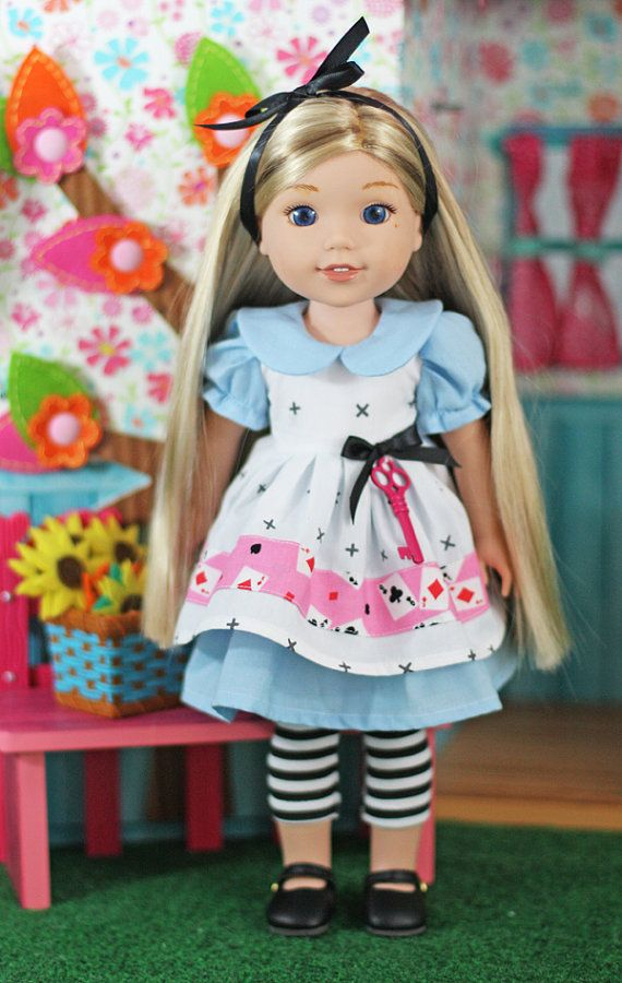 """Wellie Wisher """"Alice In Wonderland"""" Outfit fits 14"""" - 15"""" dolls"""