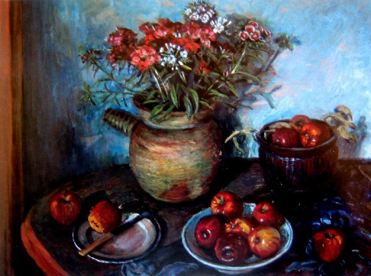 Still Life of Sweet William and Apples Margret OLLEY