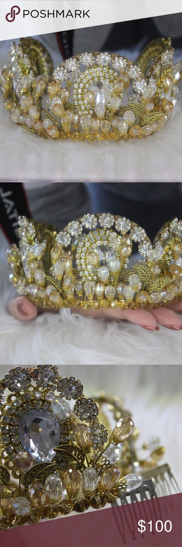 Handmade Bridal Tiara/Crown Handmade Bridal Crown/Tiara, in very good condition, sparkly and golden color. Accessories Hair Accessories