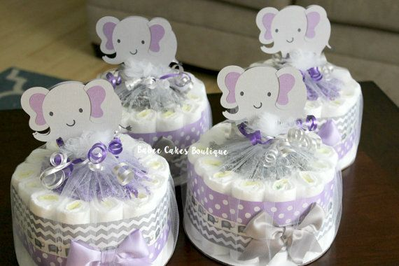 SET OF 4  Large Single Tier Purple and Gray by BabeeCakesBoutique