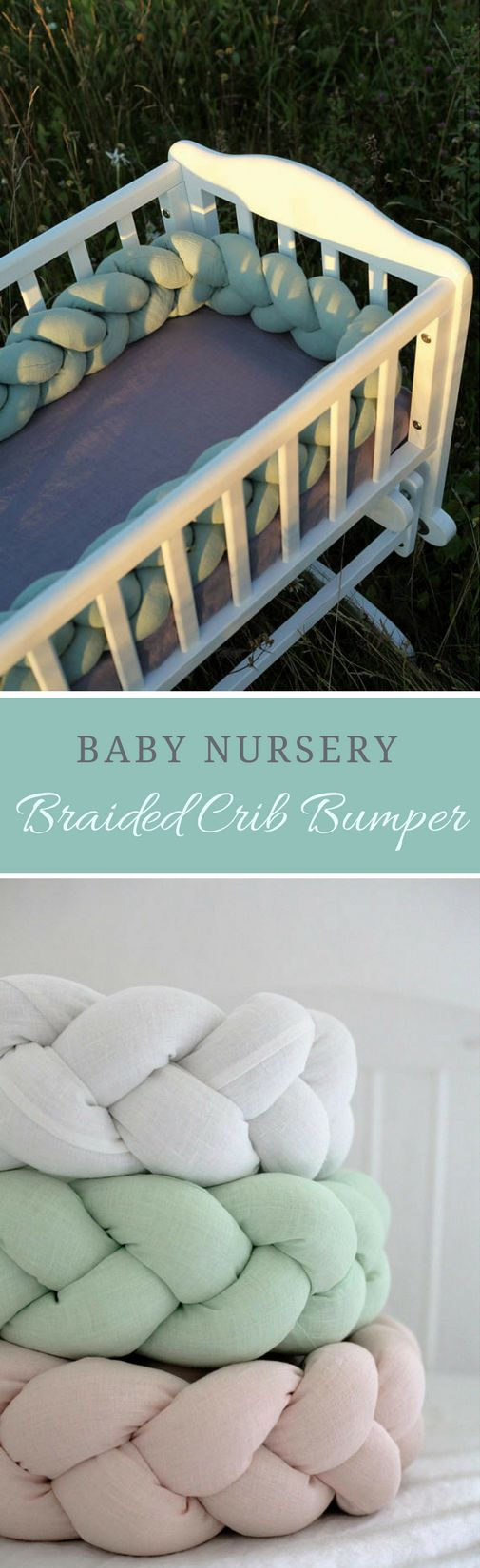 Beautiful linen crib bumpers, perfect for a neutral baby nursery! So precious! #ad #braidedbedbumper #babylinen #babybedbumper #babynursery #neutralnursery #babynursery #babynurserydecor