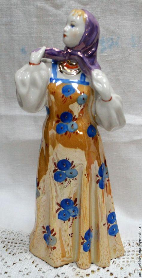 Статуэтка Танцующая девушка Дулево - комбинированный, фарфор, антиквариат, старина, винтаж, статуэтка, статуэтки