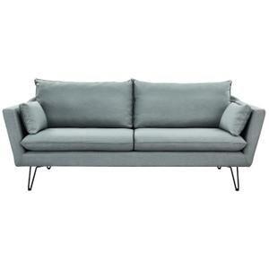 ARTHUR Canapé droit fixe 4 places - Tissu gris clair - Vintage - L 221 x P 88 cm