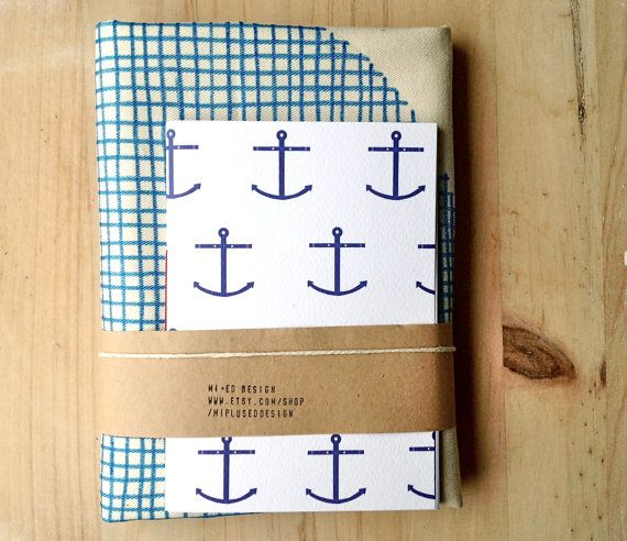 Eco Friendly Set Organic Cotton Hand Painted Tote and Hand Bound Nautical Jotter on Etsy, 22,00€