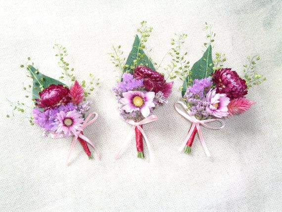 Country rustic burgundy pink wedding boutonnieres set of 6 groom wedding buttonholes groom men party decor