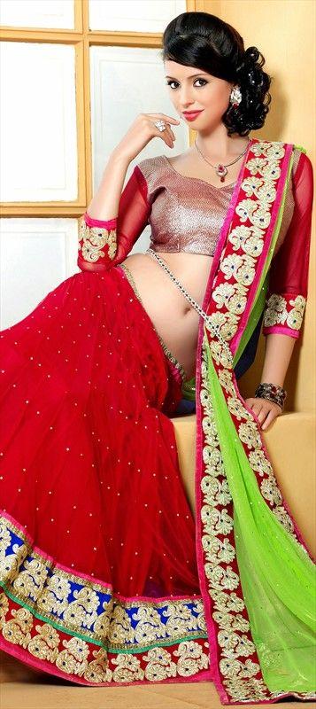 147517, Mehendi & Sangeet Lehenga, Net, Resham, Stone, Red and Maroon Color Family